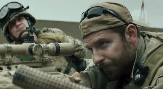 "Bradley Cooper (in foreground) as Chris Kyle, in ""American Sniper"""