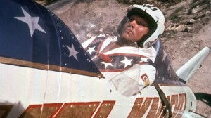 Evel Knievel, just before attempting to rocket across the Snake River