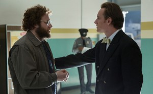 Seth Rogen and Michael Fassbender in Steve Jobs.