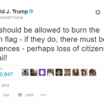 Donald Trump thinks people who burn the American flag should lose their citizenship and go to jail