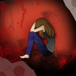 Girl covering her face in a violent looking background - © ayelet_keshet - Fotolia.com