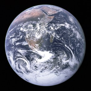 """""""The Blue Marble"""" is a famous photograph of the Earth taken on December 7, 1972, by the crew of the Apollo 17 spacecraft. Public Domain."""