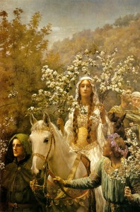 John Collier, Queen Guinevre's Maying, 1900. Public domain image.