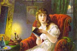 Girl Reading Ghost Story. Dr. Jayne's Victorian Trade Card #16. Public domain.