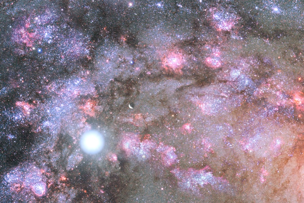 NASA Telescopes Uncover Early Construction of Giant Galaxy. Public domain image.