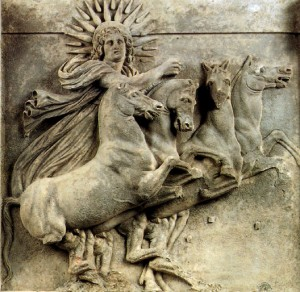 Helios in his chariot, early 4th century BC, Athena's temple, Ilion  By Gryffindor (Own work) [Public domain] / Wikimedia Commons