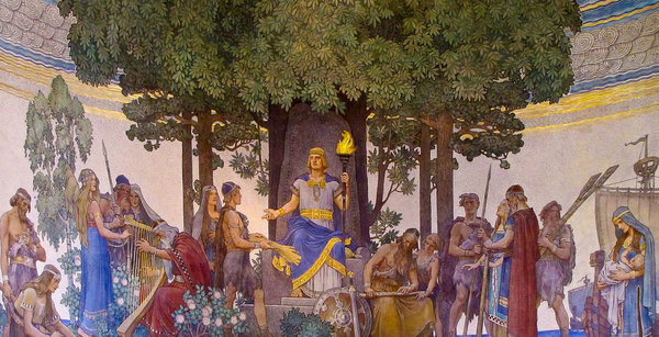 Heimdallr brings forth the gift of the gods to mankind by Nils Asplund.  From WikiMedia.