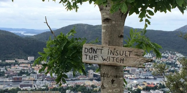 Don't Insult the Witch sign, Bergen, Norway / Tony Culbertson (used with permission)