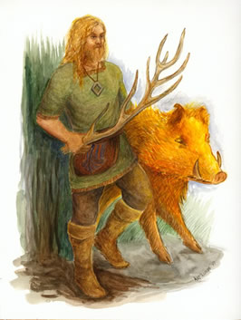 Freyr and the boar Gullinbursti
