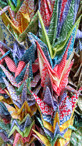 a series of Origami paper cranes