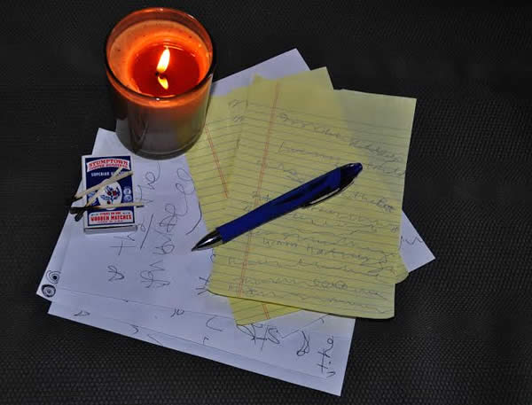 star made witch automatic writing a pen some paper and a candle