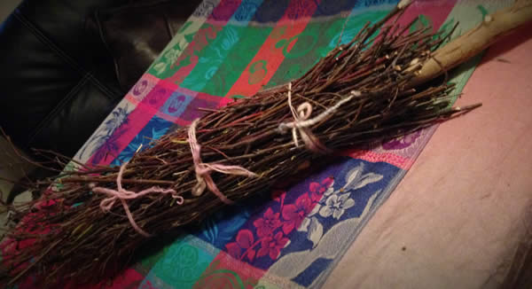 a bundle of small branches bound with yarn which become the broom