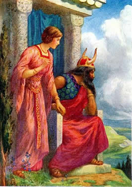 Frigga standing to a seated Odin's right with her hand on his as the look into the distance
