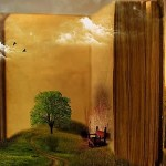 a surreal painting of an open book in a field with a tree before it and people crossing a bridge to enter it