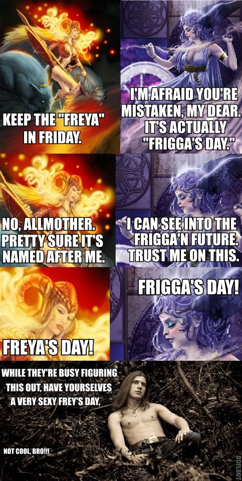 "a multi-panel meme depicting a fight between Freya and Frigga over for whom the day Friday is named.  At the end, Frey ignores them and wishes everyone a sexy ""Frey's Day."""