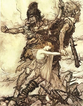 two giants dragging Freya by the arm
