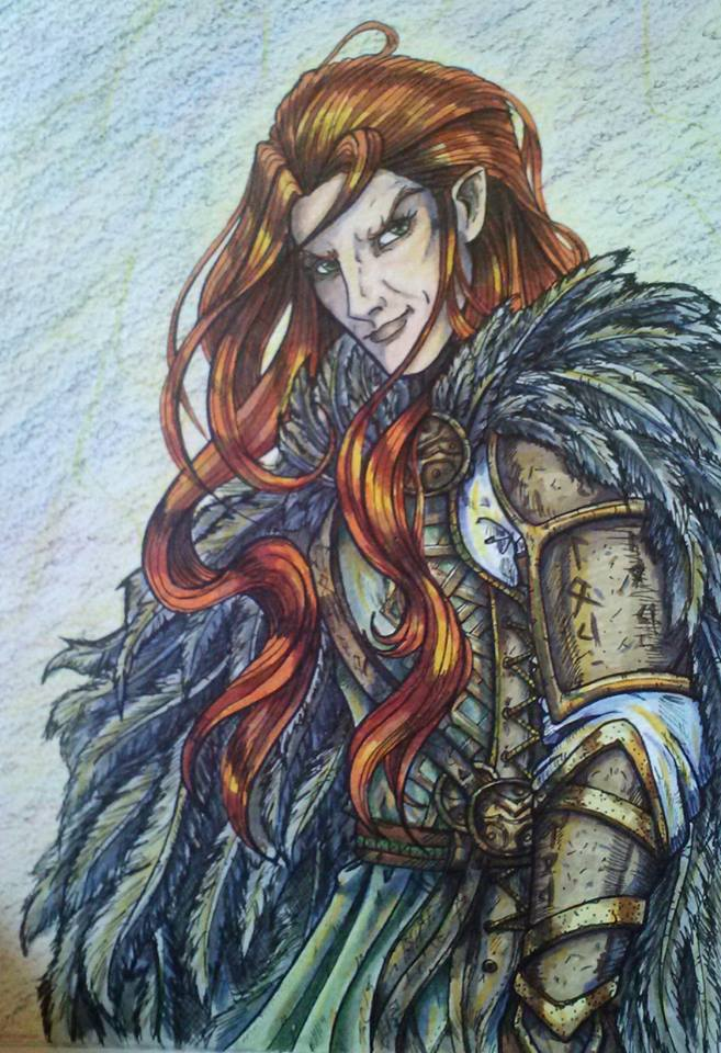 a colored pencil drawing of Loki