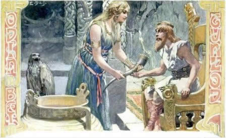 Odin being offered sips of mead by Gunnlod