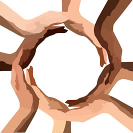 a series of hands, clasped to form a circle, from various ethnicities