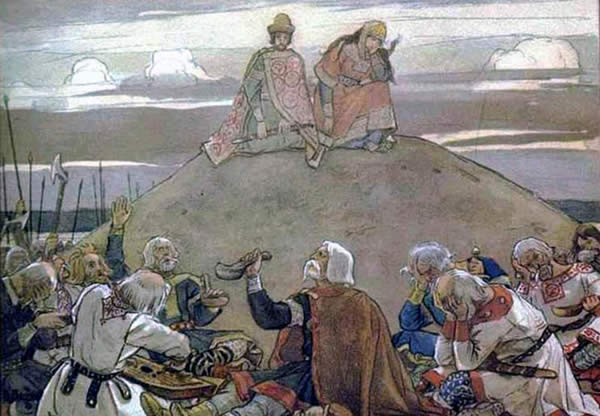 a painting of men celebrating at the base of a hill or mound