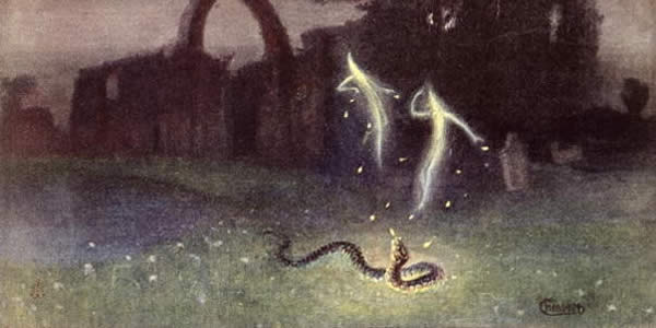two vaguely humanoid whisps of light float before a ruined castle and above a snake