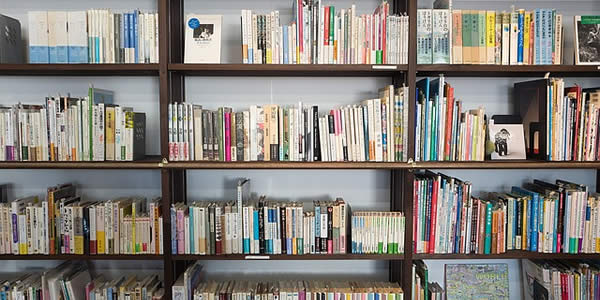 a photograph of library shelves filled with books