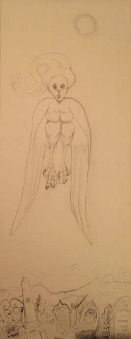 a pencil sketch of a harpy flying above a cemetery