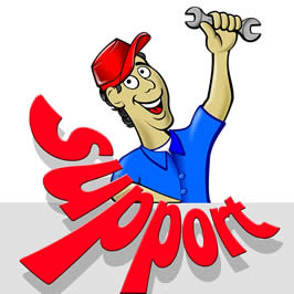 "a mechanic holding a wrench with the word ""Support"" beneath him."