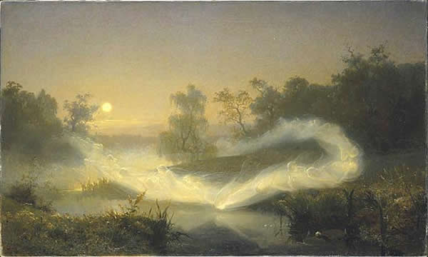 a painting of a glow of light dancing through a forest by a pond