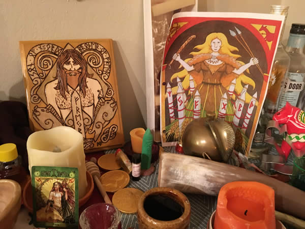 The author's Gerd and Freyr altar / Photo by the author