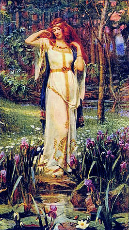 Freya, pictured as a red-headed woman in a flowing white robe, standing before a pond and flowers