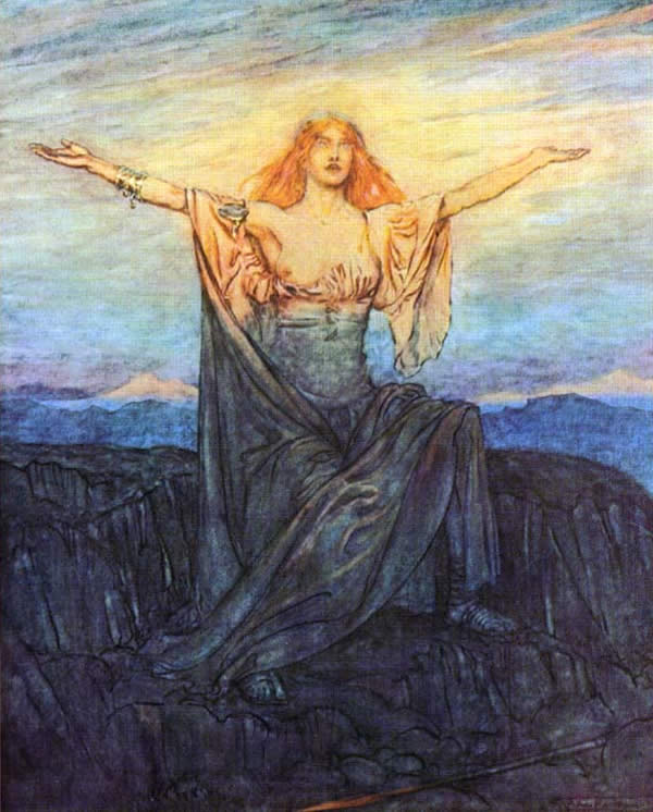 a blond women her arms raised to the rising sun in a robe showing one breast