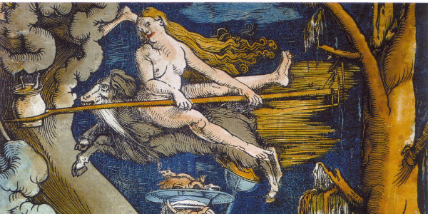 "Detail of ""Witches"" by Hans Baldung.  From WikiMedia."
