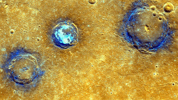 Craters on Mercury, photo by NASA via WikiMedia.