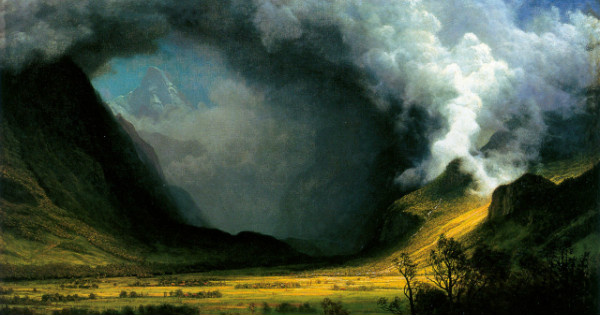 """Storm in the Mountains"" by Albert Bierstadt.  From WikiMedia."
