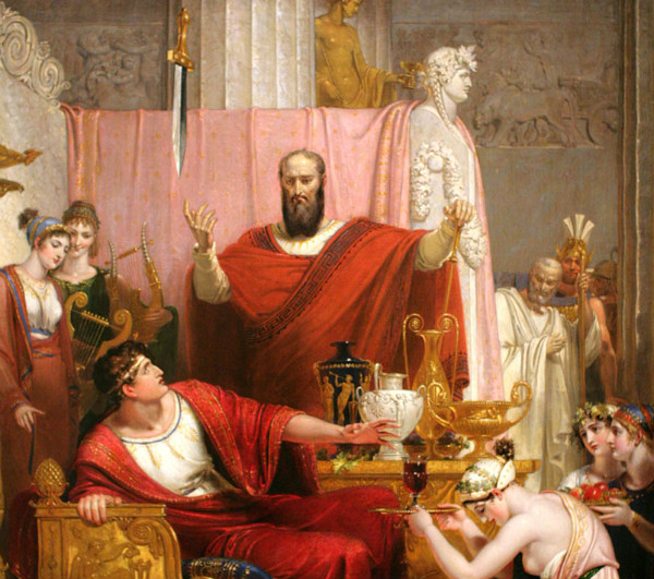 """Sword of Damocles"" (detail) by Richard Westall.  From WikiMedia."
