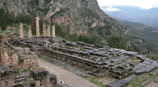 The Temple of Apollo at Delphi.  Photo Laurvick via WikiMedia.  CC License 3.0