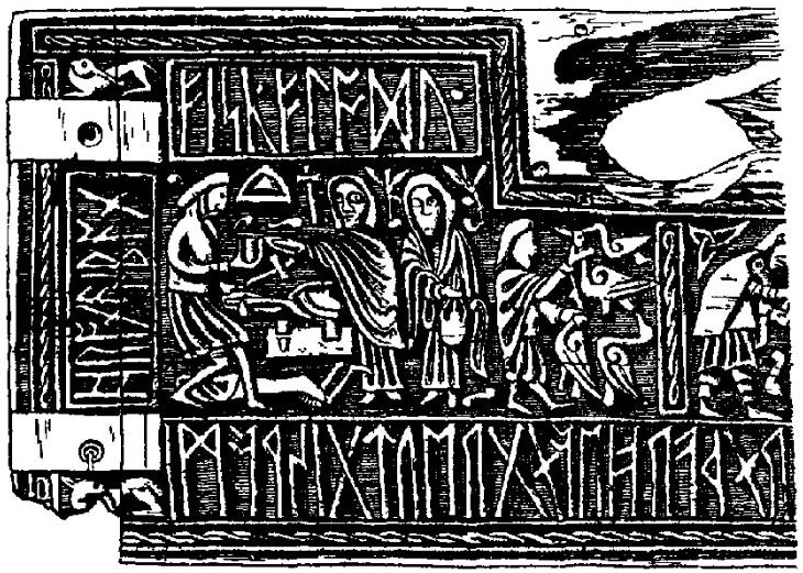 "Wayland the Smith on ""Franks Casket"", from The Encyclopedia Brittanica (1911) via WikiMedia."