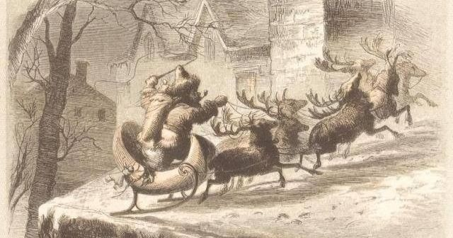 """Santa on the Roof"" by F. O. C. Darley.  Public Domain Image."