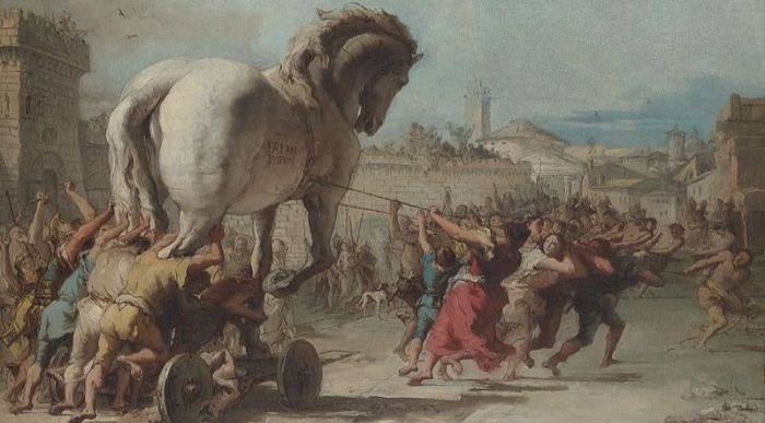 """""""The Procession of the Trojan Horse in Troy"""" by Giovanni Domenico Tiepolo.  From WikiMedia."""