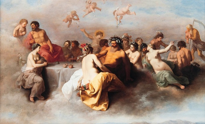 """Meeting the Gods in the Clouds"" by Cornelis van Poelenburch.  From WikiMedia."