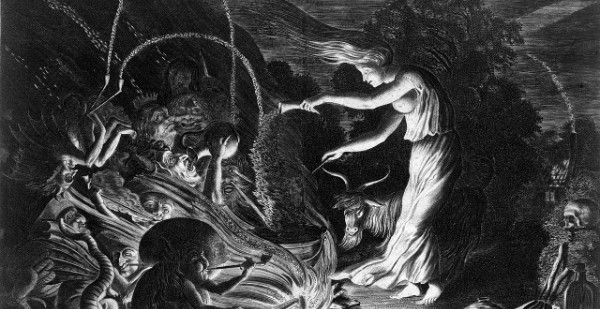 A_witch_at_her_cauldron_surrounded_by_beasts._Etching_by_J._Wellcome_L0019609