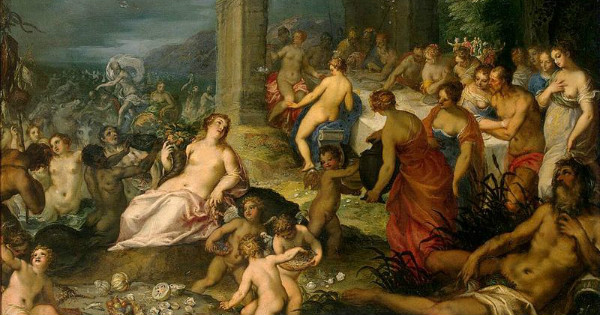 """Feast of the Gods"" by Hans Rottenhammer & Jan Brueghel the Elder.  From WikiMedia."