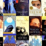 Collage of covers of books on Muslim women, with all veiled.