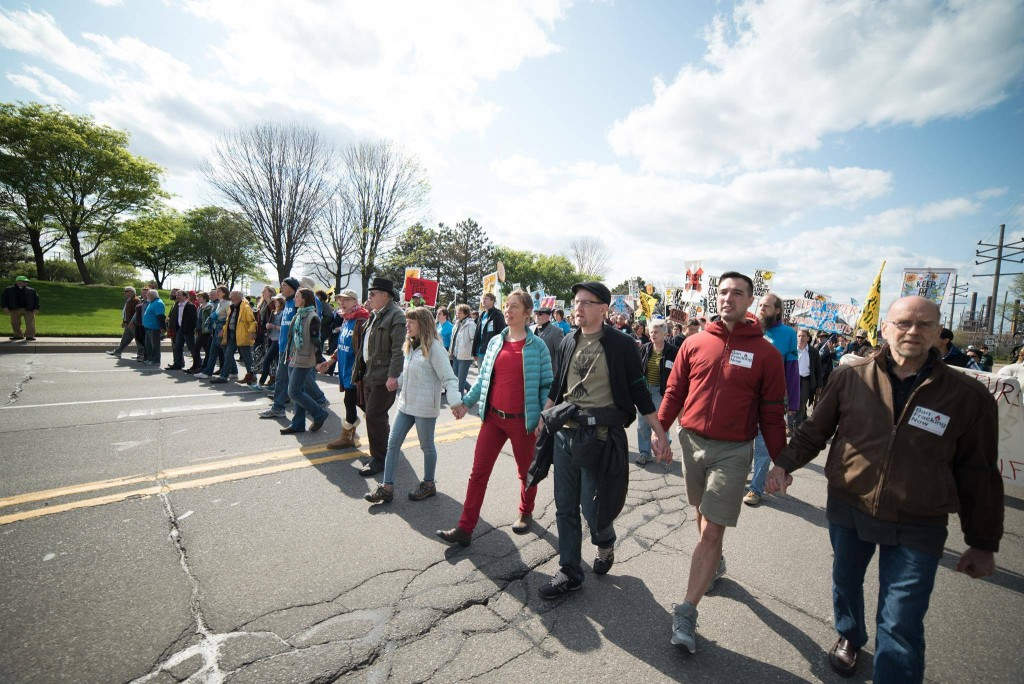 Climate activists at the BP tar sands refinery in Whiting, IN on May 15, 2016