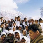 Greg Mortenson with the children of Korphe in Pakistan