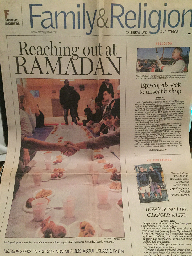 Front Page Article in the San Jose Mercury News about SBIA's 1st Ramadan Interfaith Iftaar in November of 2003.