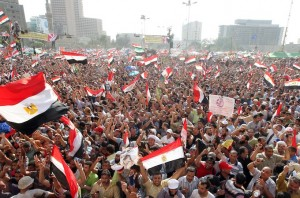 Supporters of Presidential candidate Morsi celebrate victory in Tahrir
