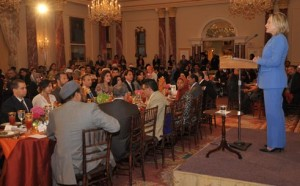 Then-Secretary of State Hillary Clinton speaking at a State Department iftar.