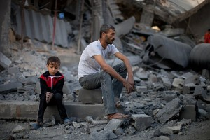 A father and son shell-shocked in Gaza
